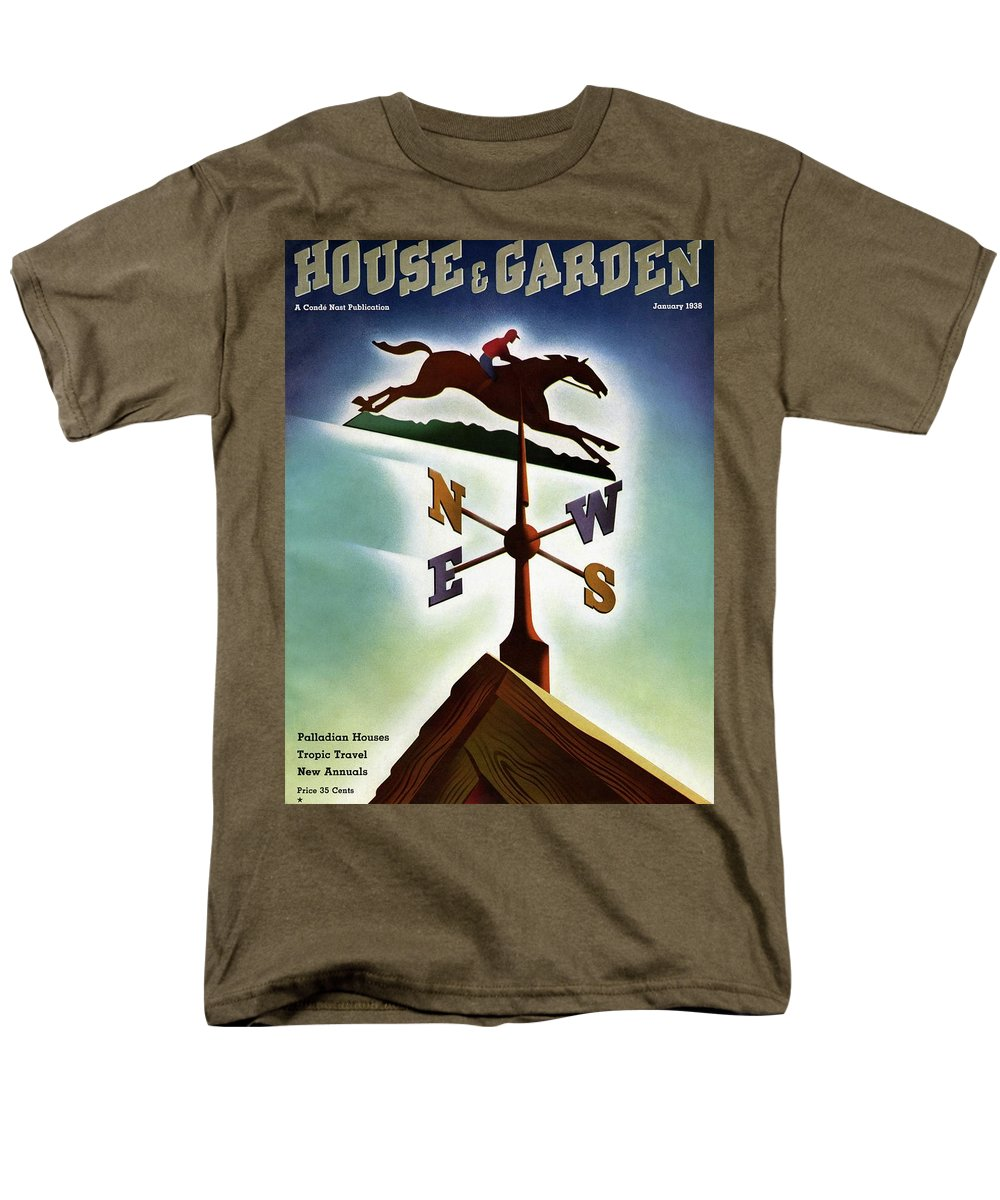 House And Garden Men's T-Shirt (Regular Fit) featuring the photograph A Weathervane With A Racehorse by Joseph Binder