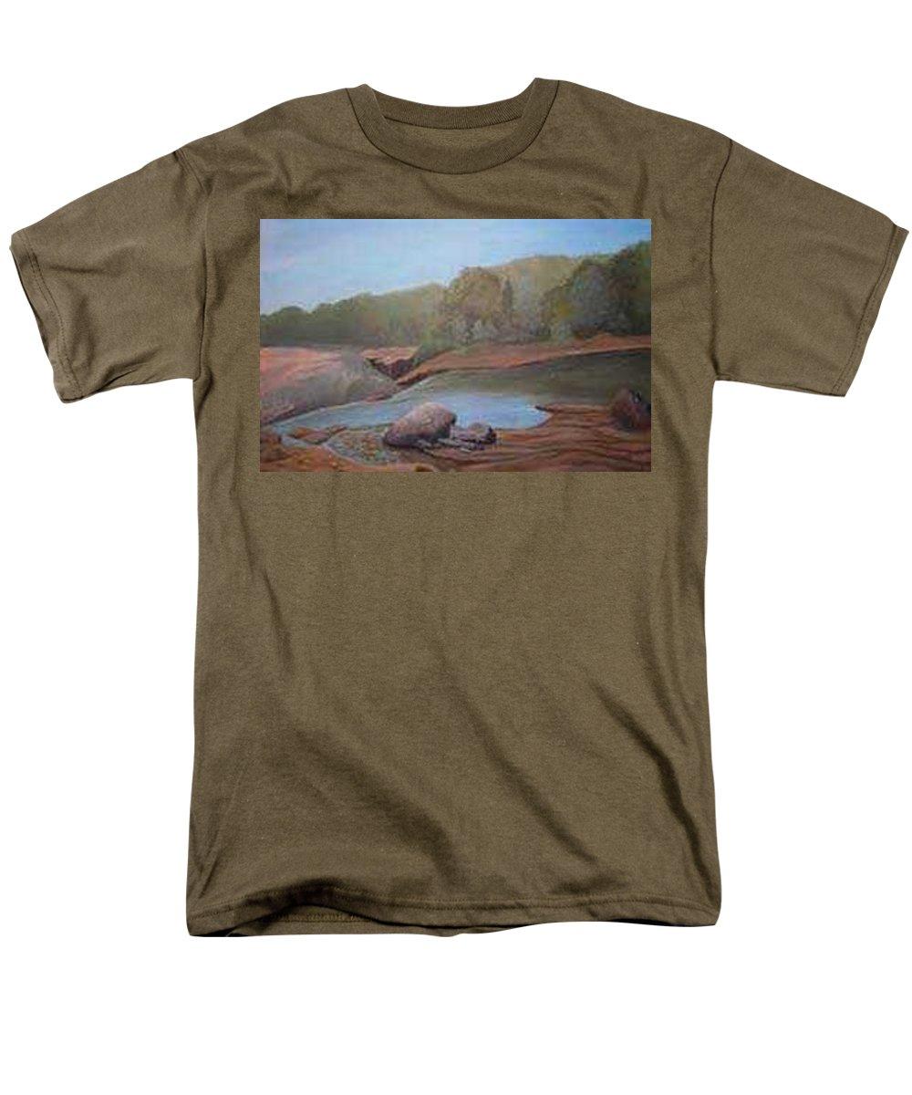 Rick Huotari Men's T-Shirt (Regular Fit) featuring the painting Black River Falls by Rick Huotari