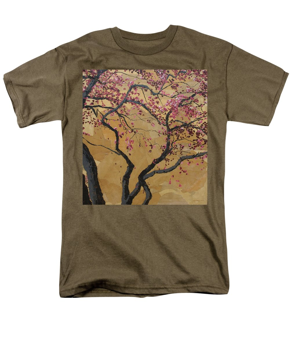 Tree Men's T-Shirt (Regular Fit) featuring the painting Blooming Prairie Fire by Leah Tomaino