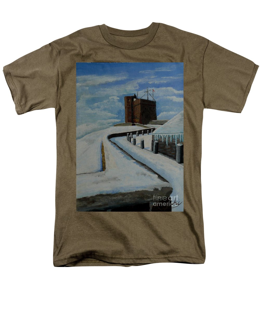 Landscape Men's T-Shirt (Regular Fit) featuring the painting Cabot Tower Newfoundland by Anthony Dunphy