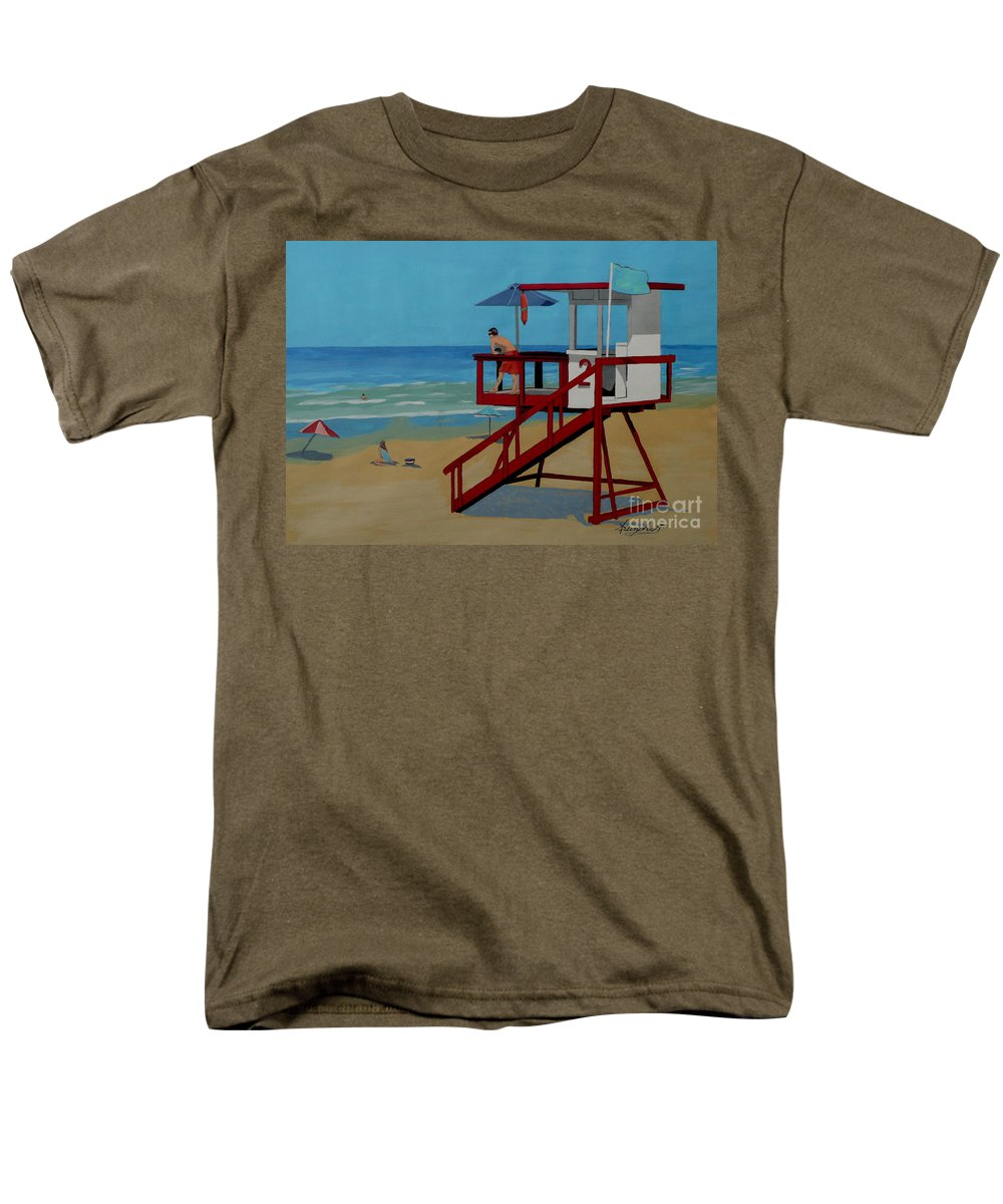 Lifeguard Men's T-Shirt (Regular Fit) featuring the painting Distracted Lifeguard by Anthony Dunphy