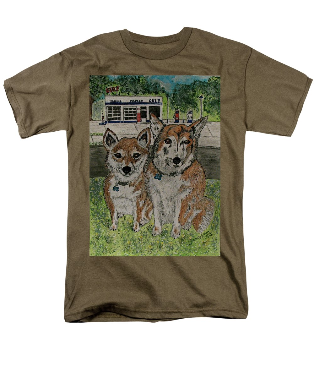 Dogs Men's T-Shirt (Regular Fit) featuring the painting Dogs in front of the Gulf Station by Kathy Marrs Chandler