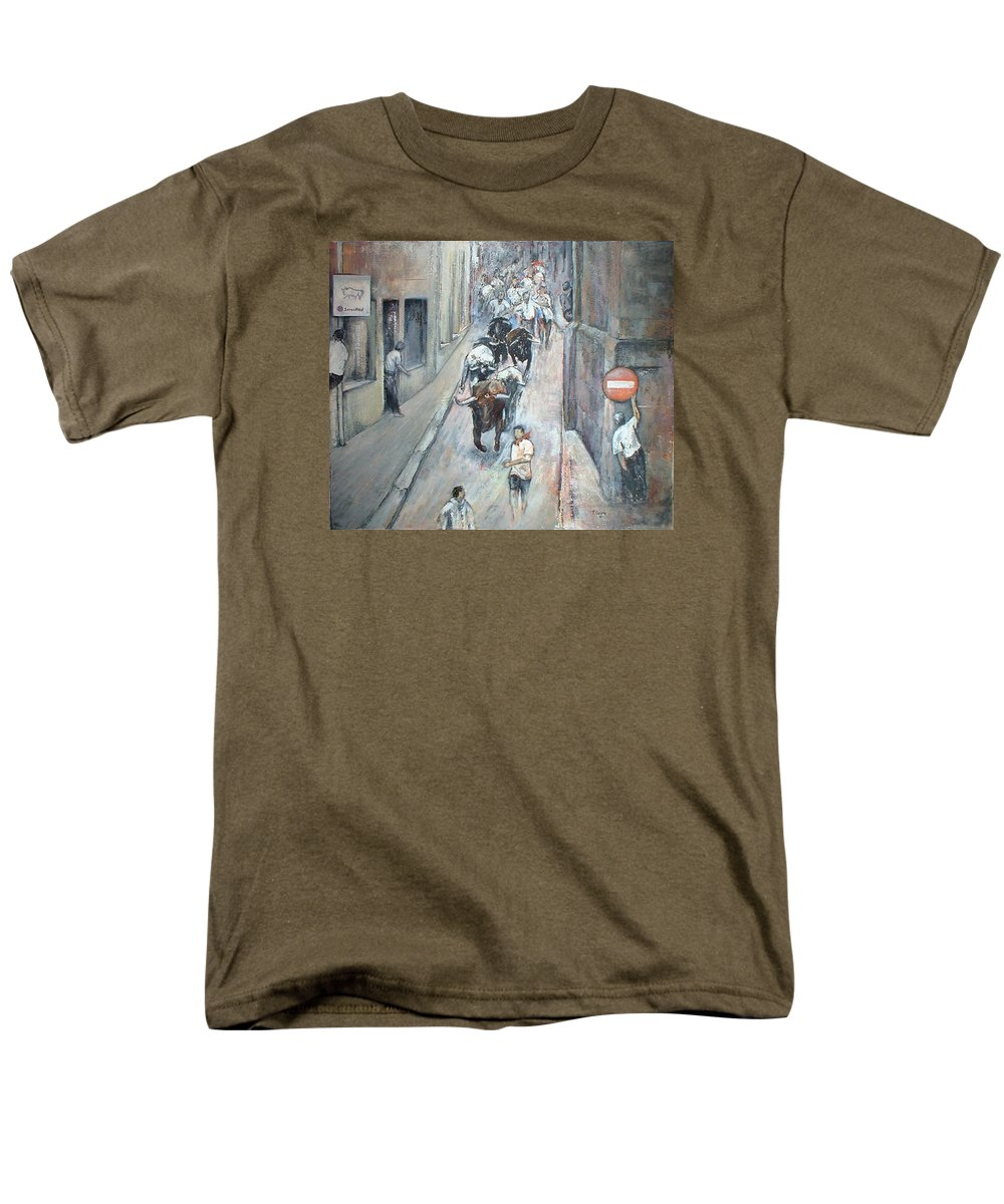 Encierros Men's T-Shirt (Regular Fit) featuring the painting Encierro by Tomas Castano