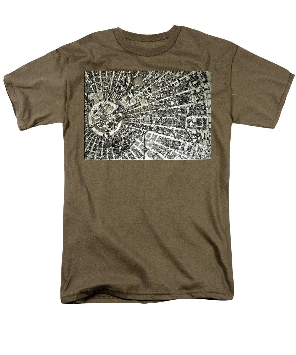 Cityscape Men's T-Shirt (Regular Fit) featuring the drawing Inside Orbital City by Murphy Elliott