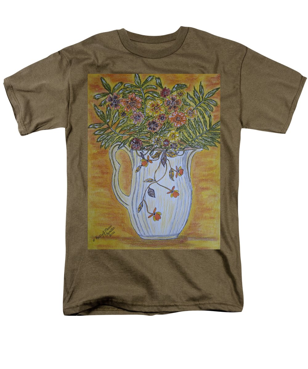Jewel Tea Men's T-Shirt (Regular Fit) featuring the painting Jewel Tea Pitcher with Marigolds by Kathy Marrs Chandler