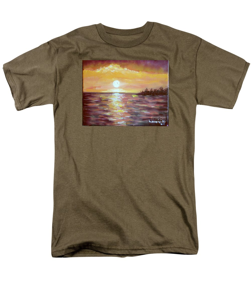 Sunset Men's T-Shirt (Regular Fit) featuring the painting Kona Sunset by Laurie Morgan
