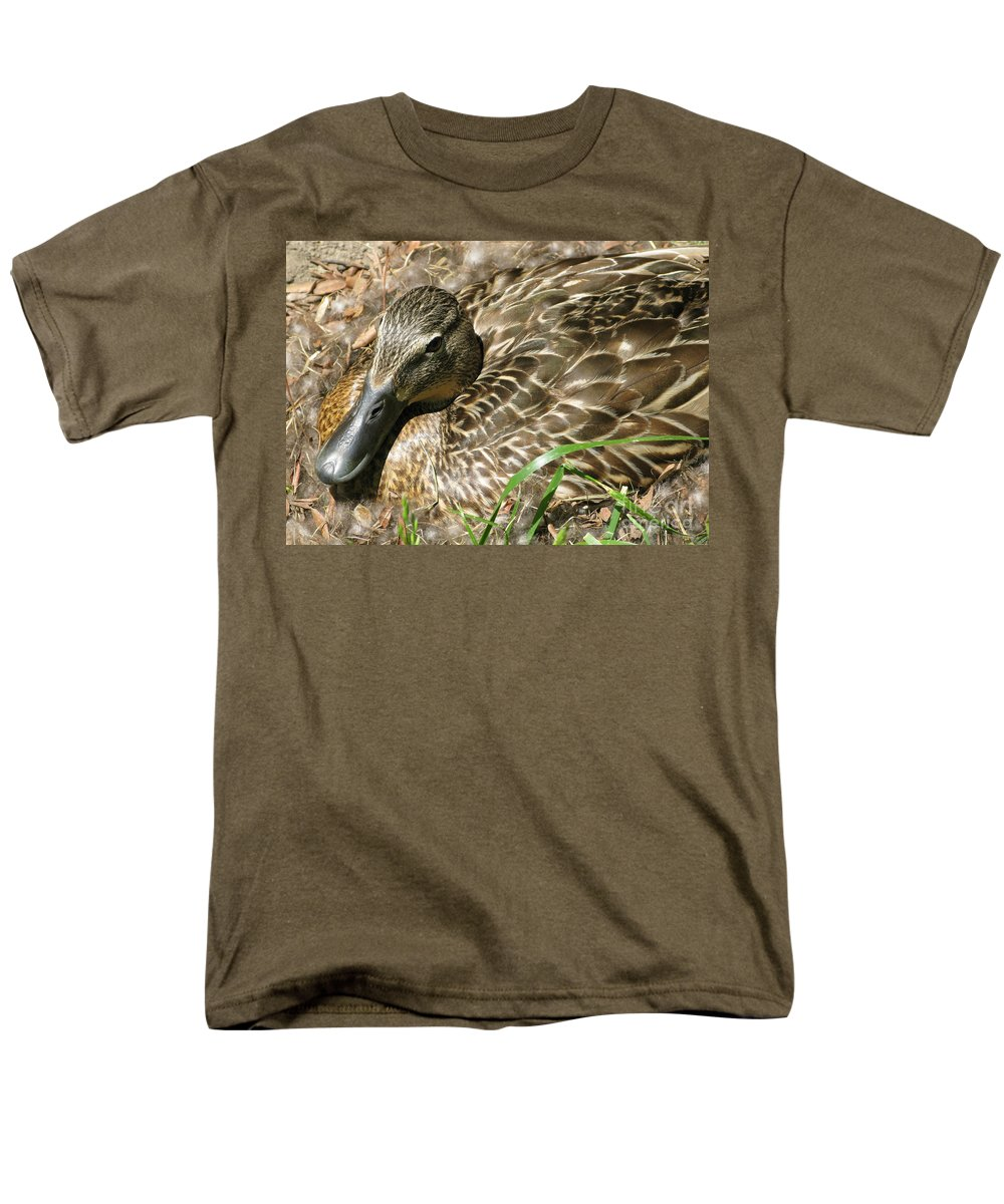 Mallard Men's T-Shirt (Regular Fit) featuring the photograph Nesting Mallard by Ann Horn