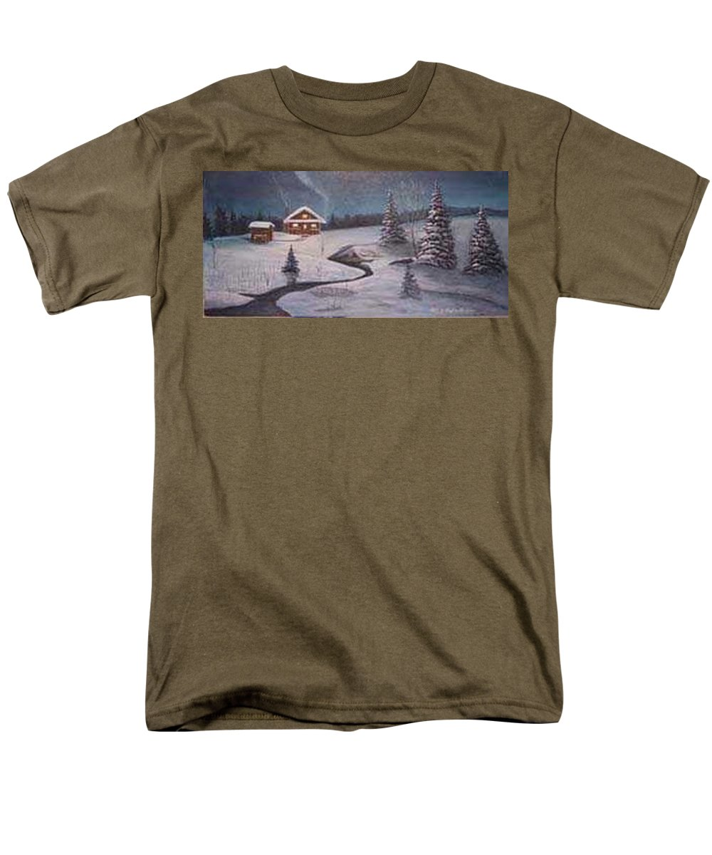 Rick Huotari Men's T-Shirt (Regular Fit) featuring the painting North Woods Cabin by Rick Huotari