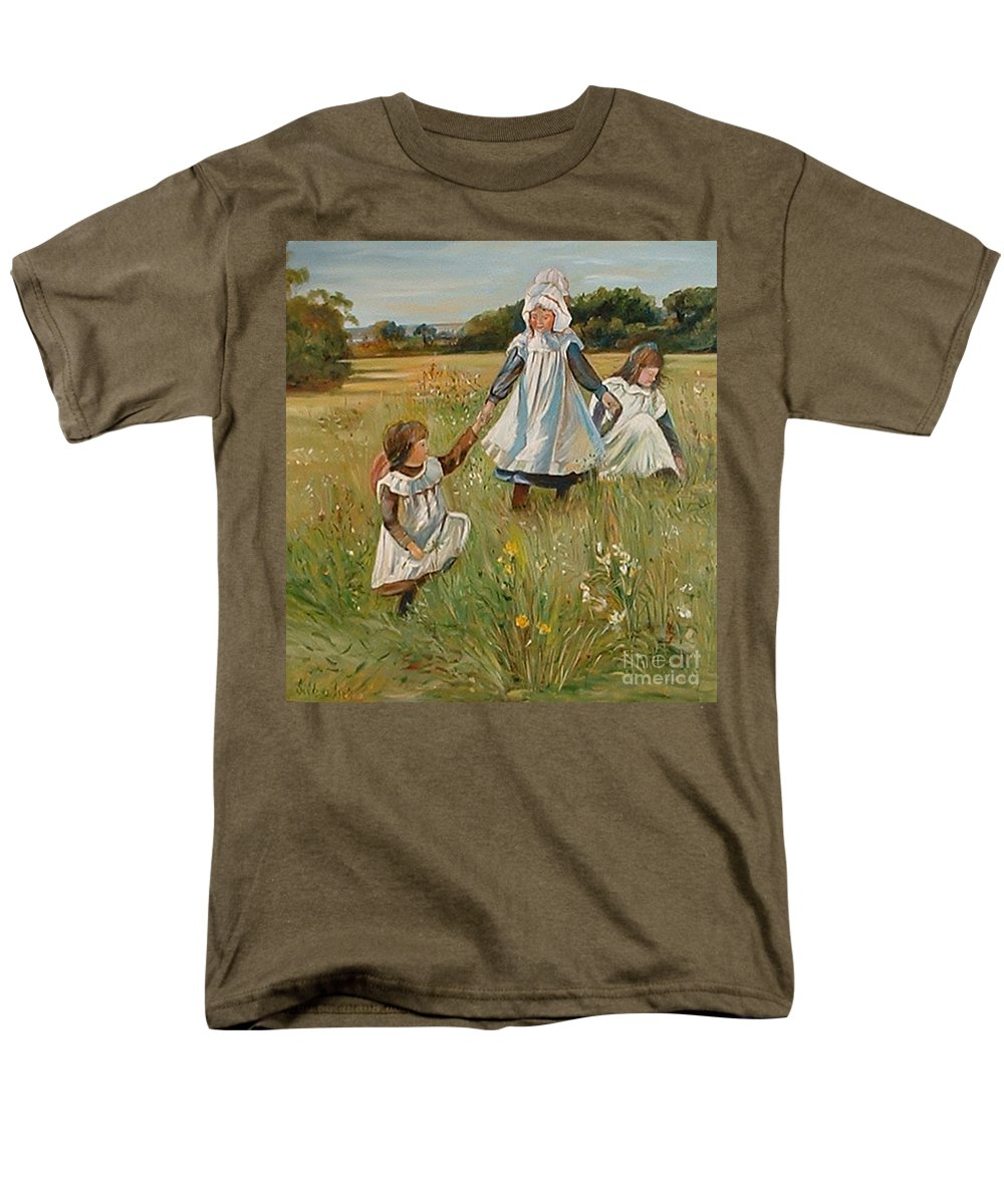 Classic Art Men's T-Shirt (Regular Fit) featuring the painting Sisters by Silvana Abel
