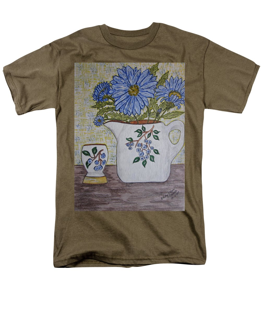 Stangl Blueberry Pottery Men's T-Shirt (Regular Fit) featuring the painting Stangl Blueberry Pottery by Kathy Marrs Chandler