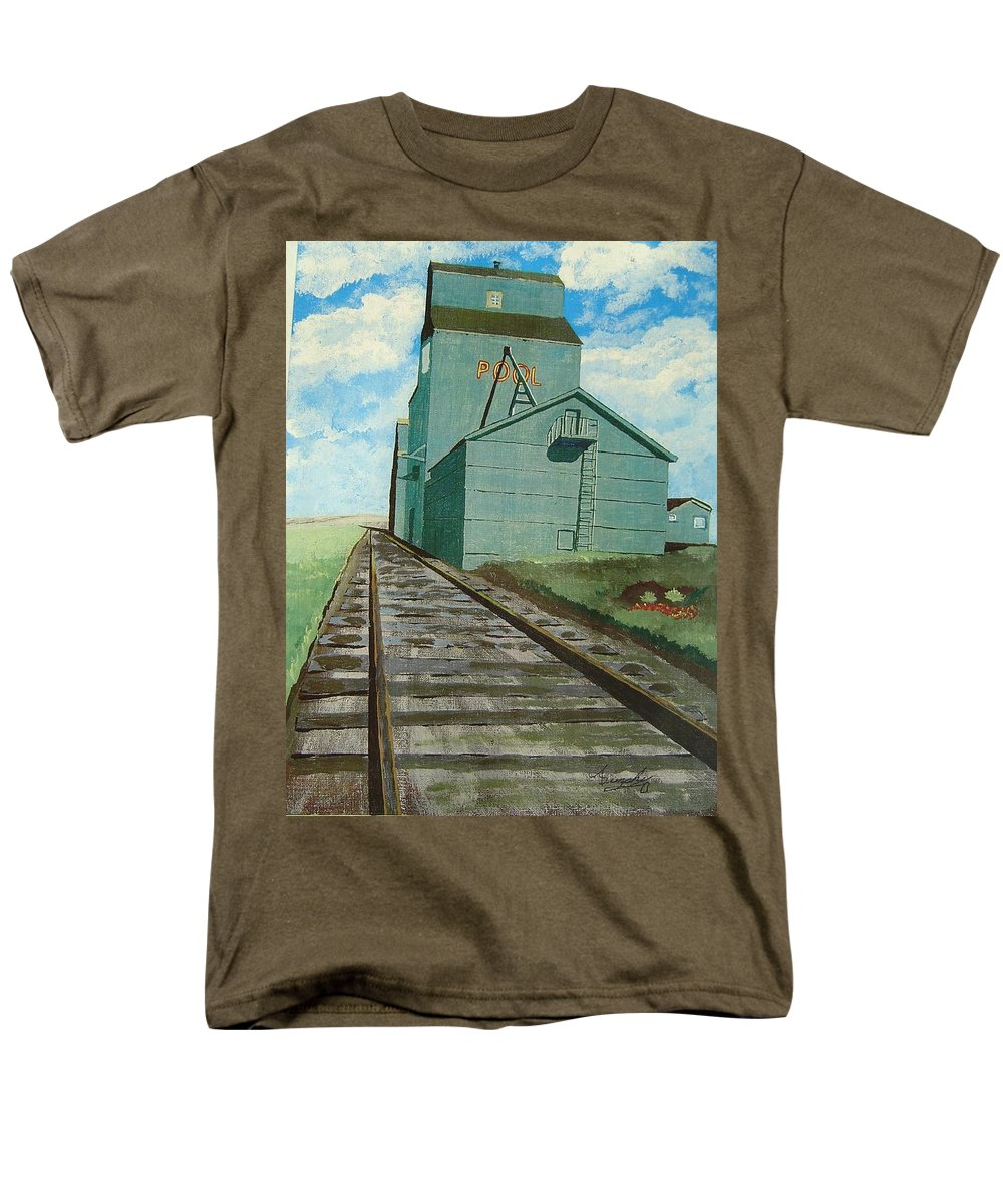 Elevator Men's T-Shirt (Regular Fit) featuring the painting The Grain Elevator by Anthony Dunphy