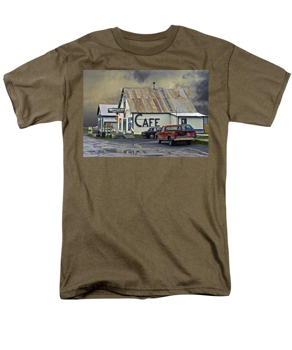 Alaska Men's T-Shirt (Regular Fit) featuring the photograph Vintage Alaska Cafe by Ron Day