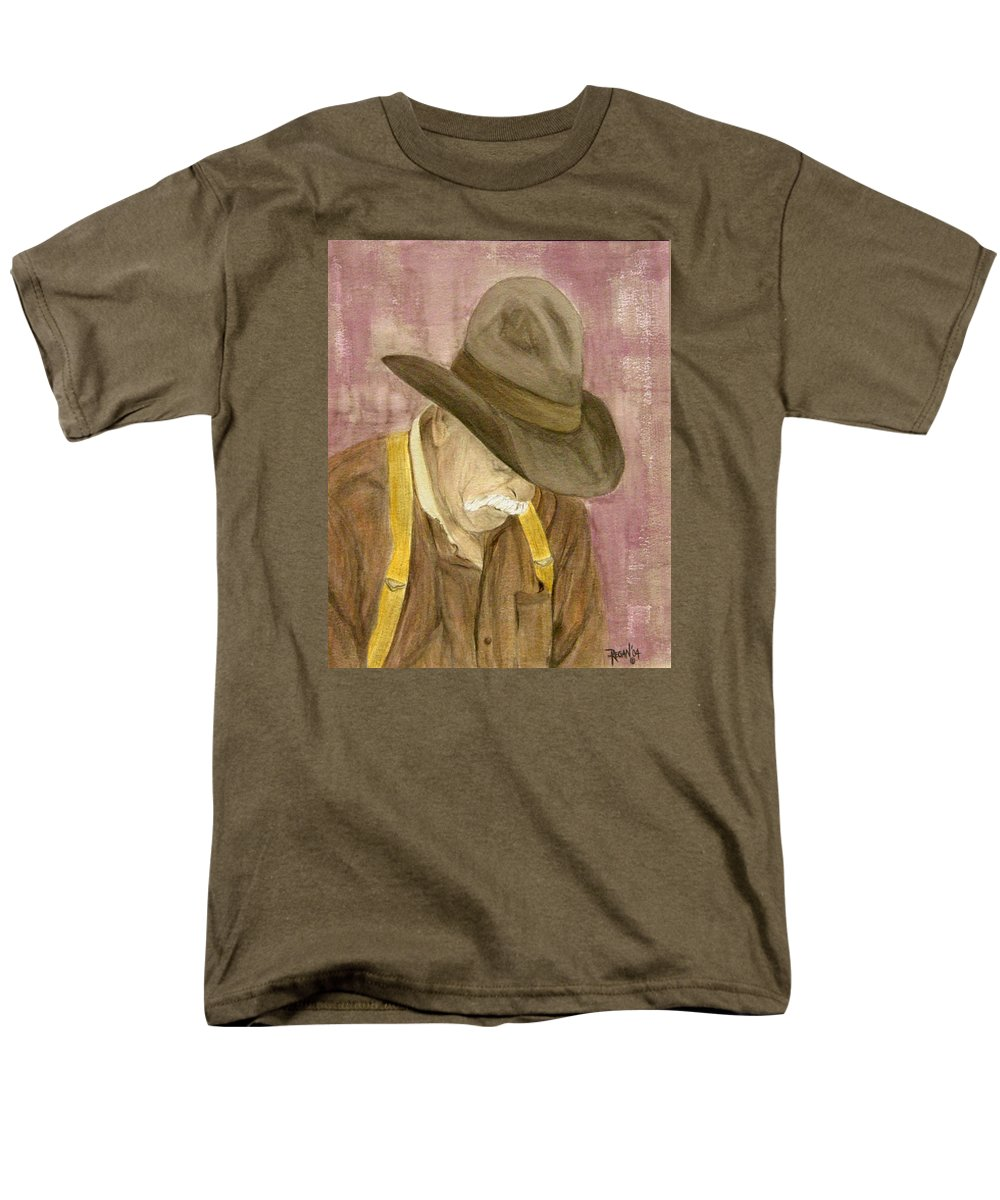 Western Men's T-Shirt (Regular Fit) featuring the painting Walter by Regan J Smith