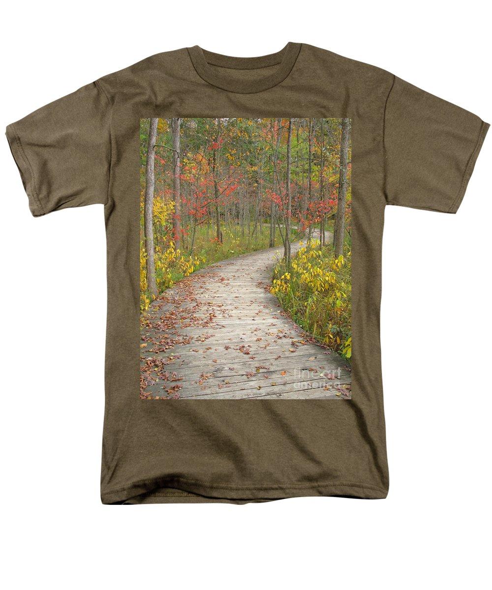 Autumn Men's T-Shirt (Regular Fit) featuring the photograph Winding Woods Walk by Ann Horn