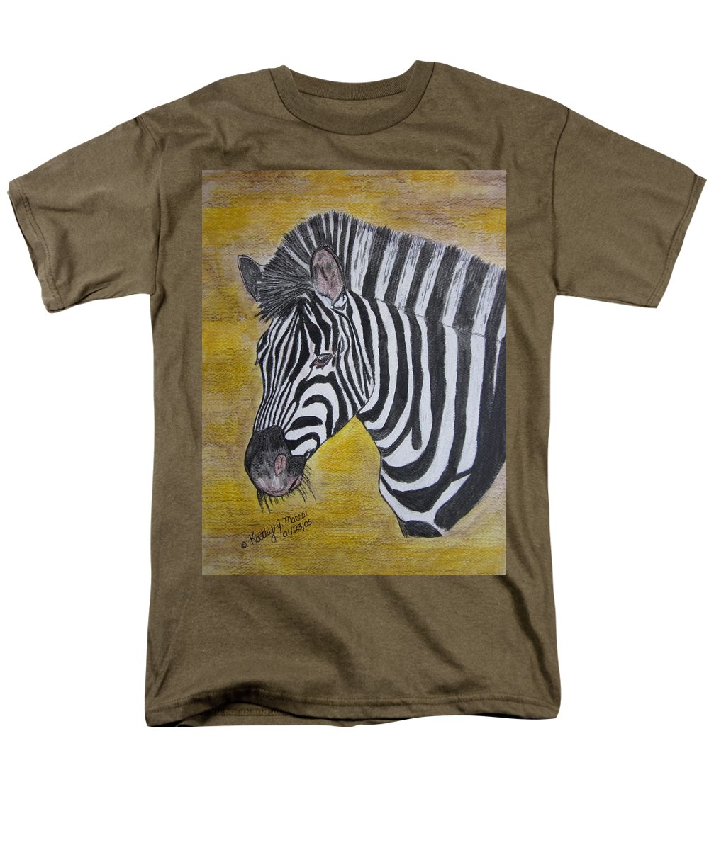 Zebra Men's T-Shirt (Regular Fit) featuring the painting Zebra Portrait by Kathy Marrs Chandler