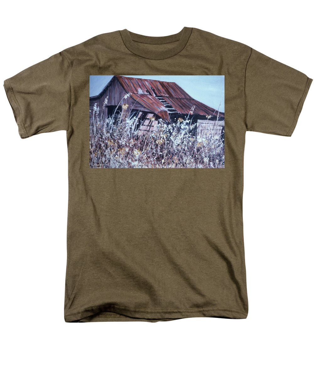 Rustic Men's T-Shirt (Regular Fit) featuring the painting Barn in Sunlight by Ben Kiger
