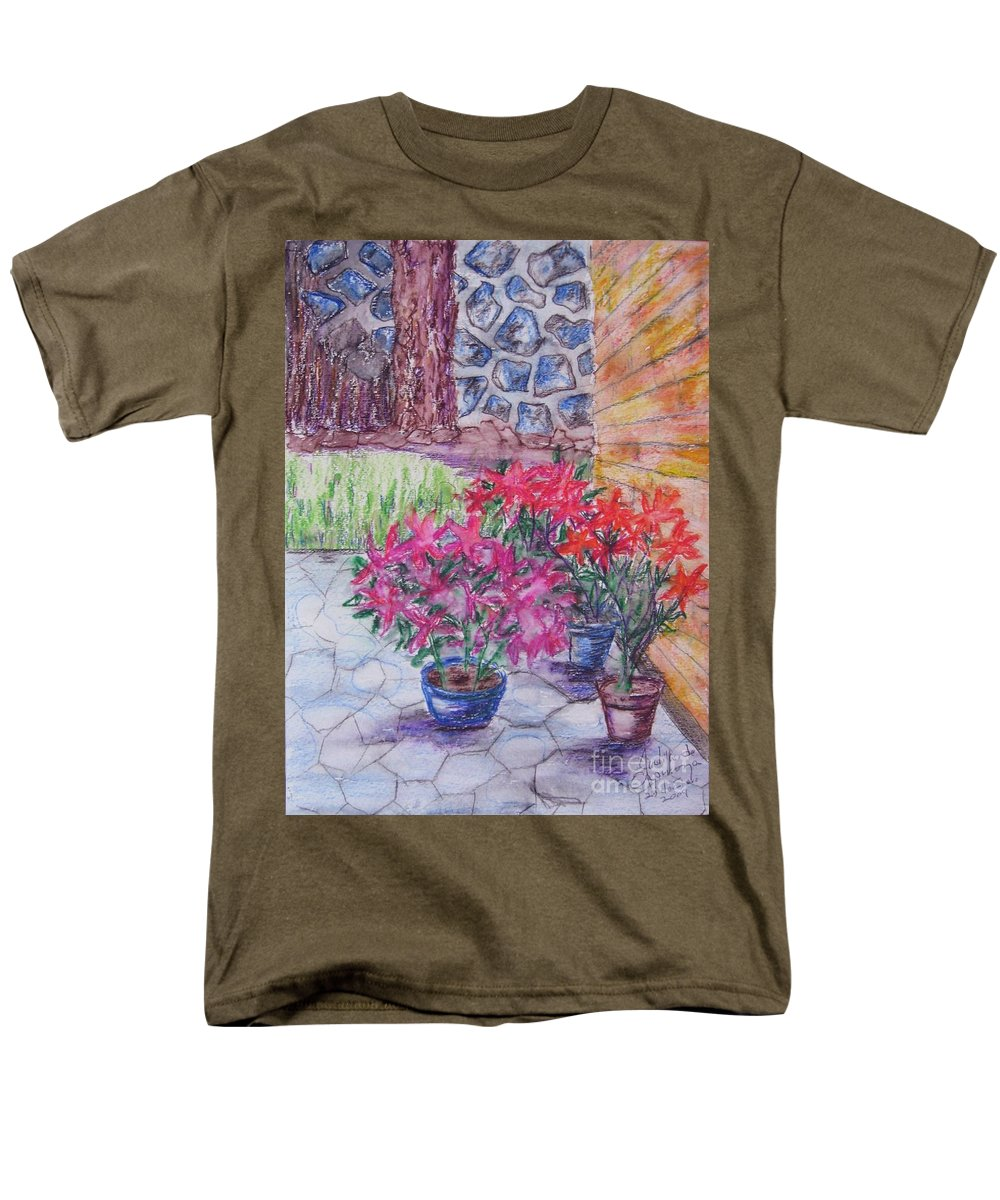 Poinsettias Men's T-Shirt (Regular Fit) featuring the painting Poinsettias - GIFTED by Judith Espinoza