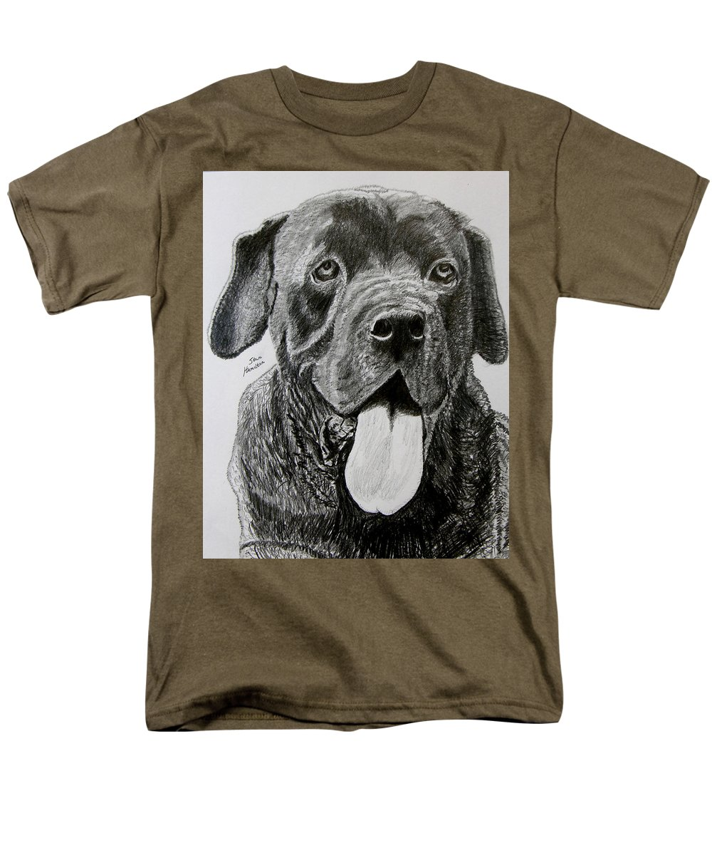 Dog Portrait Men's T-Shirt (Regular Fit) featuring the drawing Sampson by Stan Hamilton