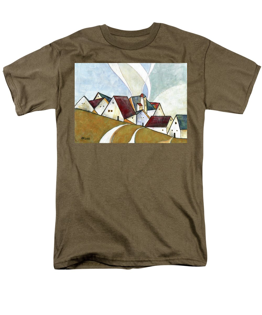 Original Art Men's T-Shirt (Regular Fit) featuring the painting  A cold day by Aniko Hencz