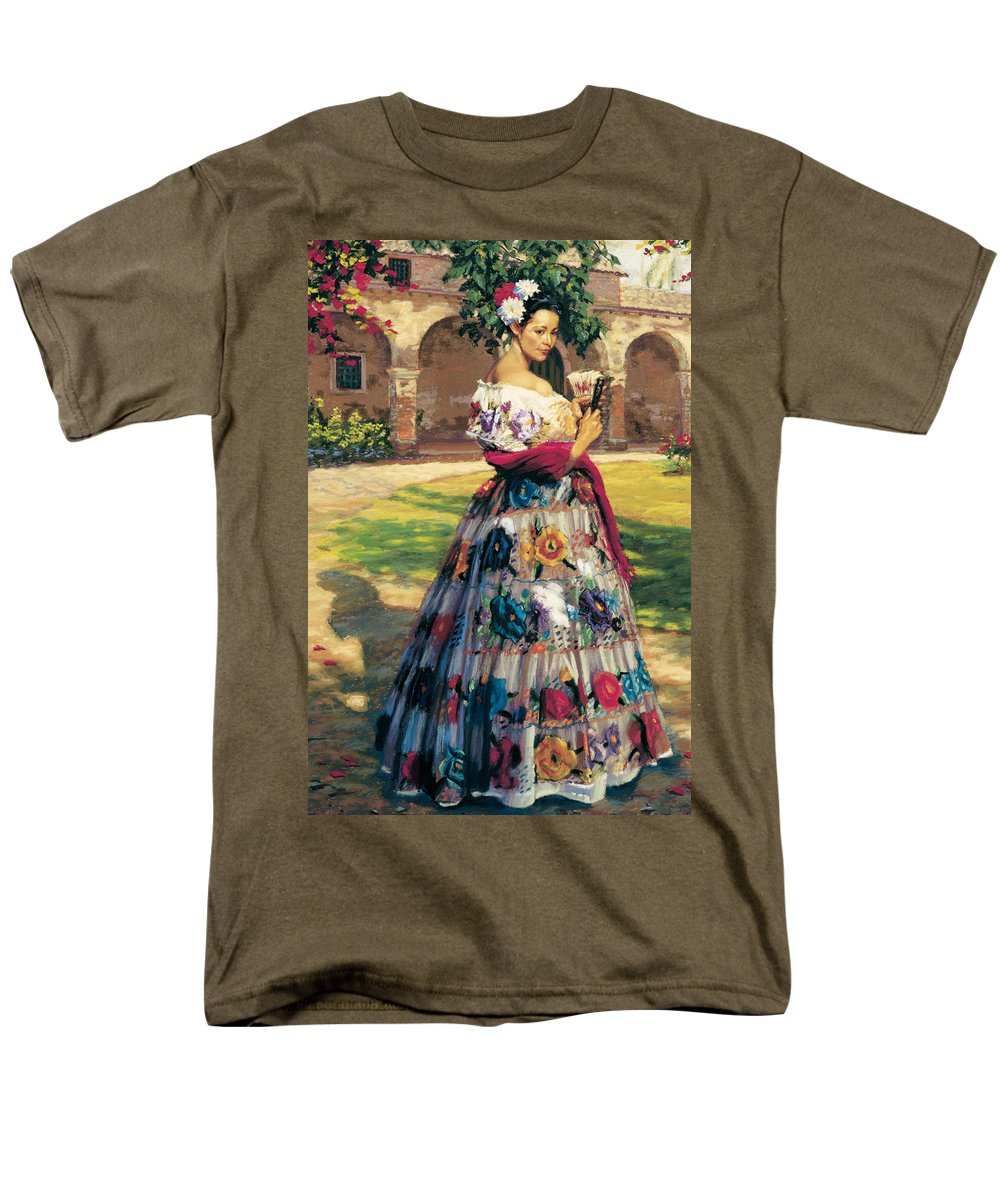 Woman Elaborately Embroidered Mexican Dress. Background Mission San Juan Capistrano. Men's T-Shirt (Regular Fit) featuring the painting Al Aire Libre by Jean Hildebrant
