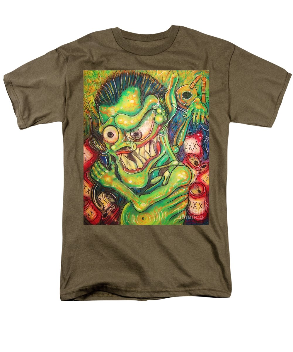 Beer Men's T-Shirt (Regular Fit) featuring the painting Alcoholic Demon by Americo Salazar