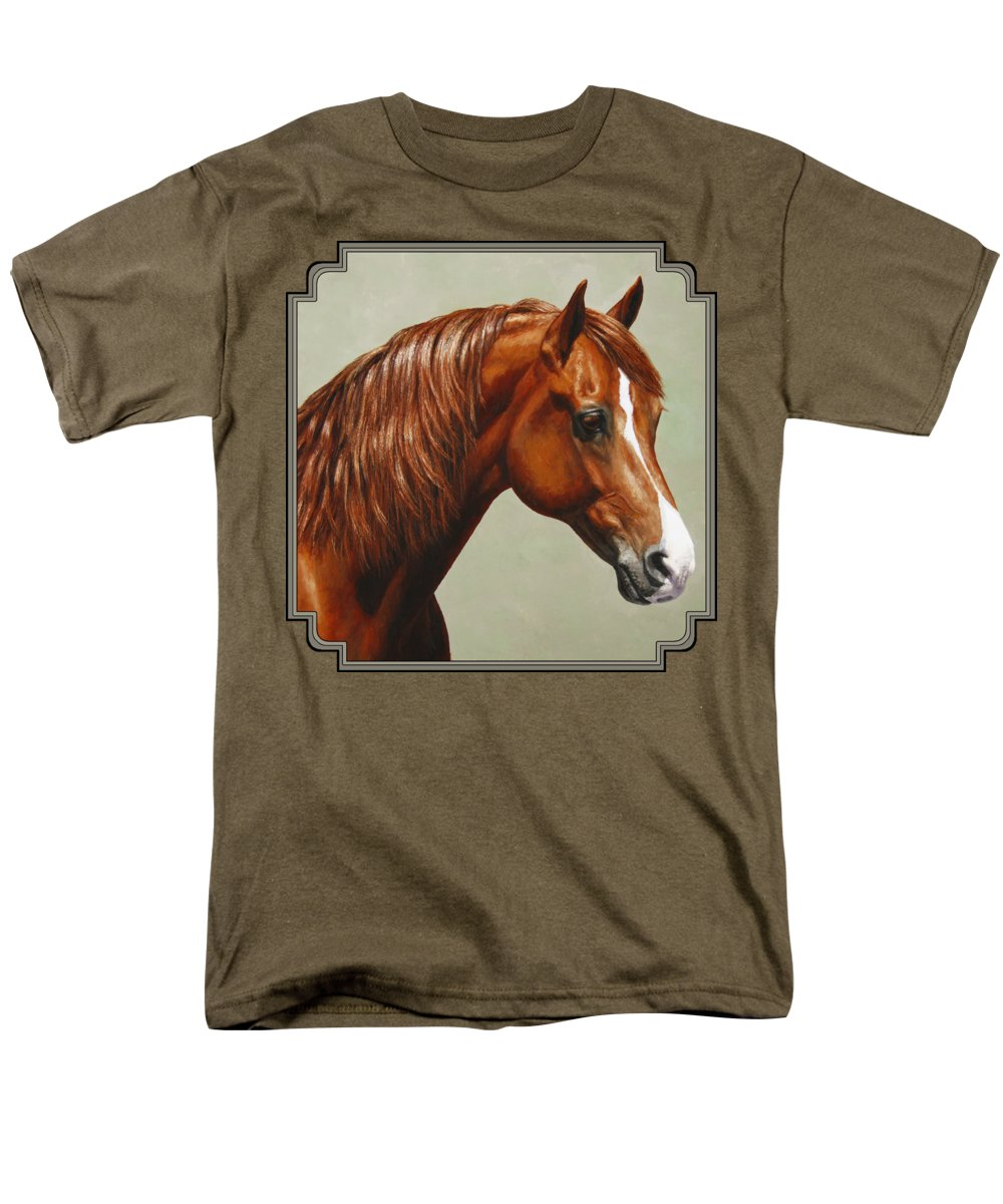 Horse Men's T-Shirt (Regular Fit) featuring the painting Morgan Horse - Flame by Crista Forest