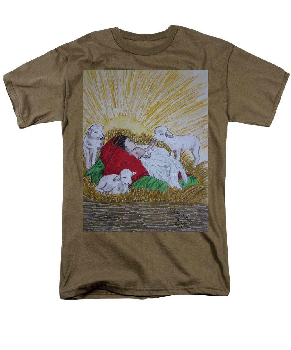 Saviour Men's T-Shirt (Regular Fit) featuring the painting Baby Jesus At Birth by Kathy Marrs Chandler