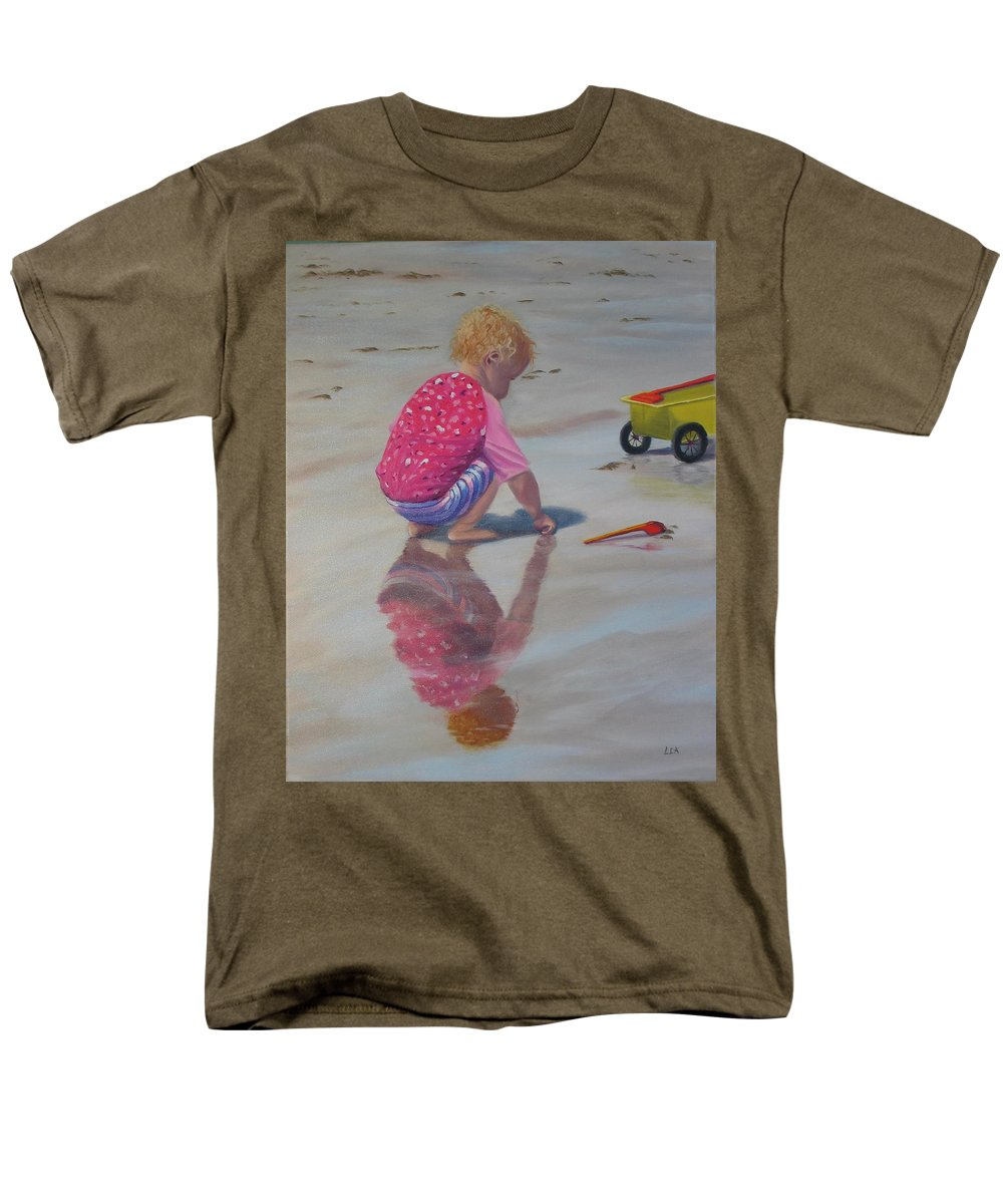 Baby Men's T-Shirt (Regular Fit) featuring the painting Beach Baby by Lea Novak