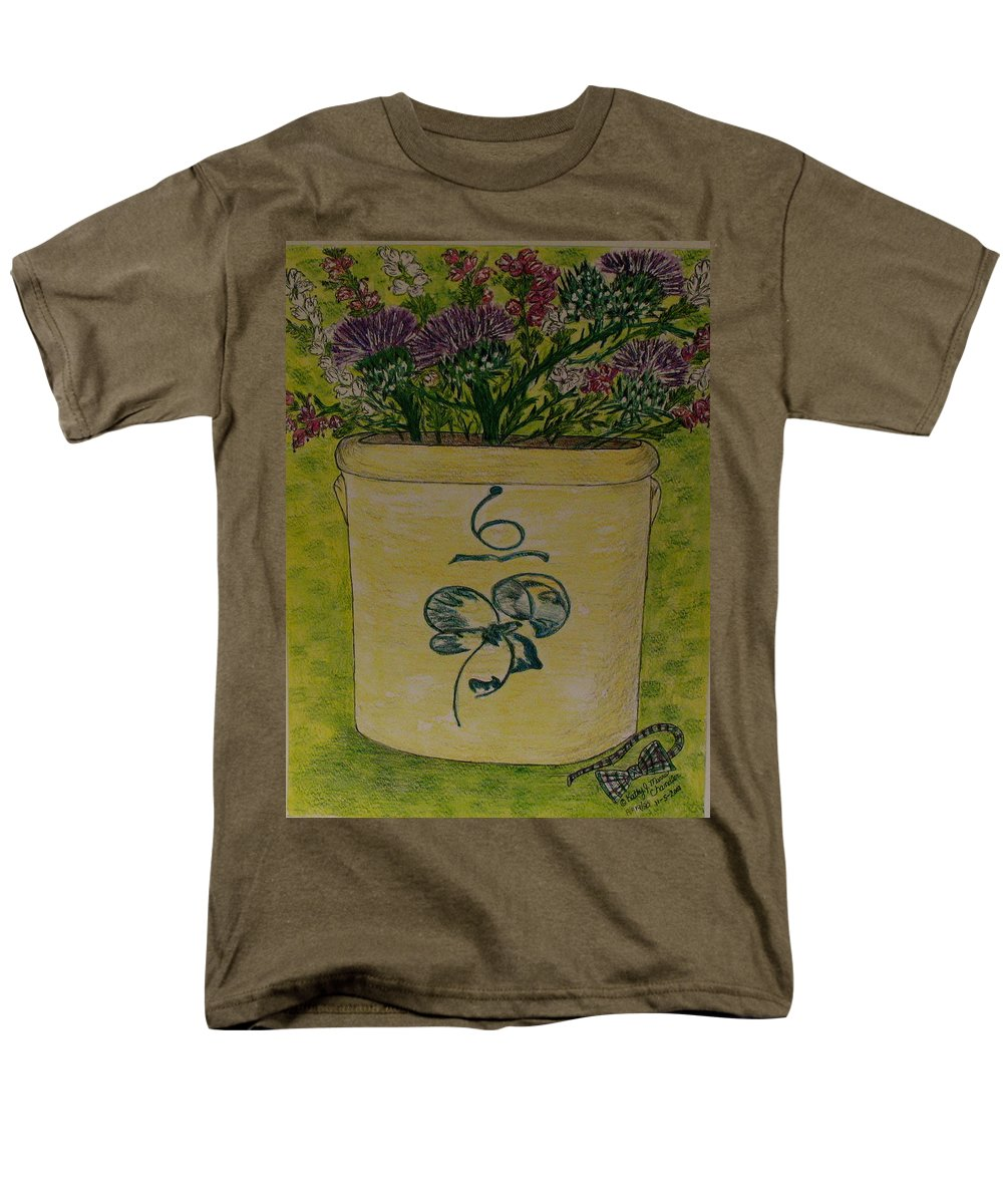 Bee Sting Crock Men's T-Shirt (Regular Fit) featuring the painting Bee Sting Crock With Good Luck Bow Heather And Thistles by Kathy Marrs Chandler
