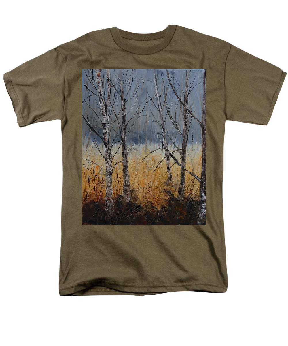 Winter Men's T-Shirt (Regular Fit) featuring the painting Birch trees by Pol Ledent