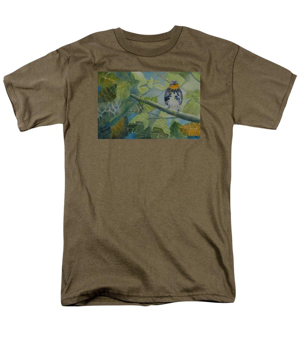 Bird Men's T-Shirt (Regular Fit) featuring the painting Blackburnian Warbler I by Ruth Kamenev