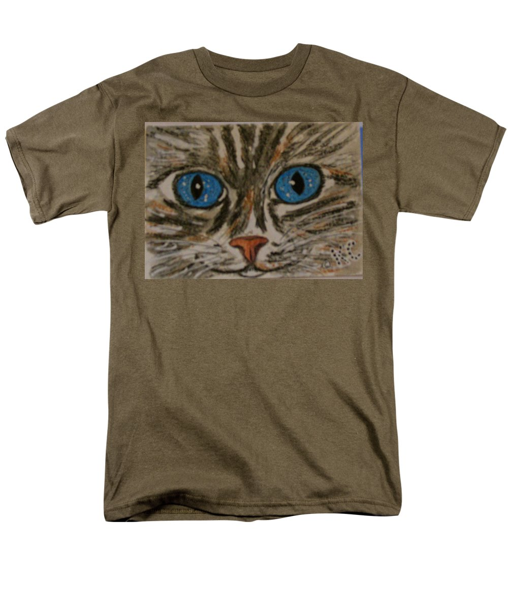 Blue Eyes Men's T-Shirt (Regular Fit) featuring the painting Blue Eyed Tiger Cat by Kathy Marrs Chandler