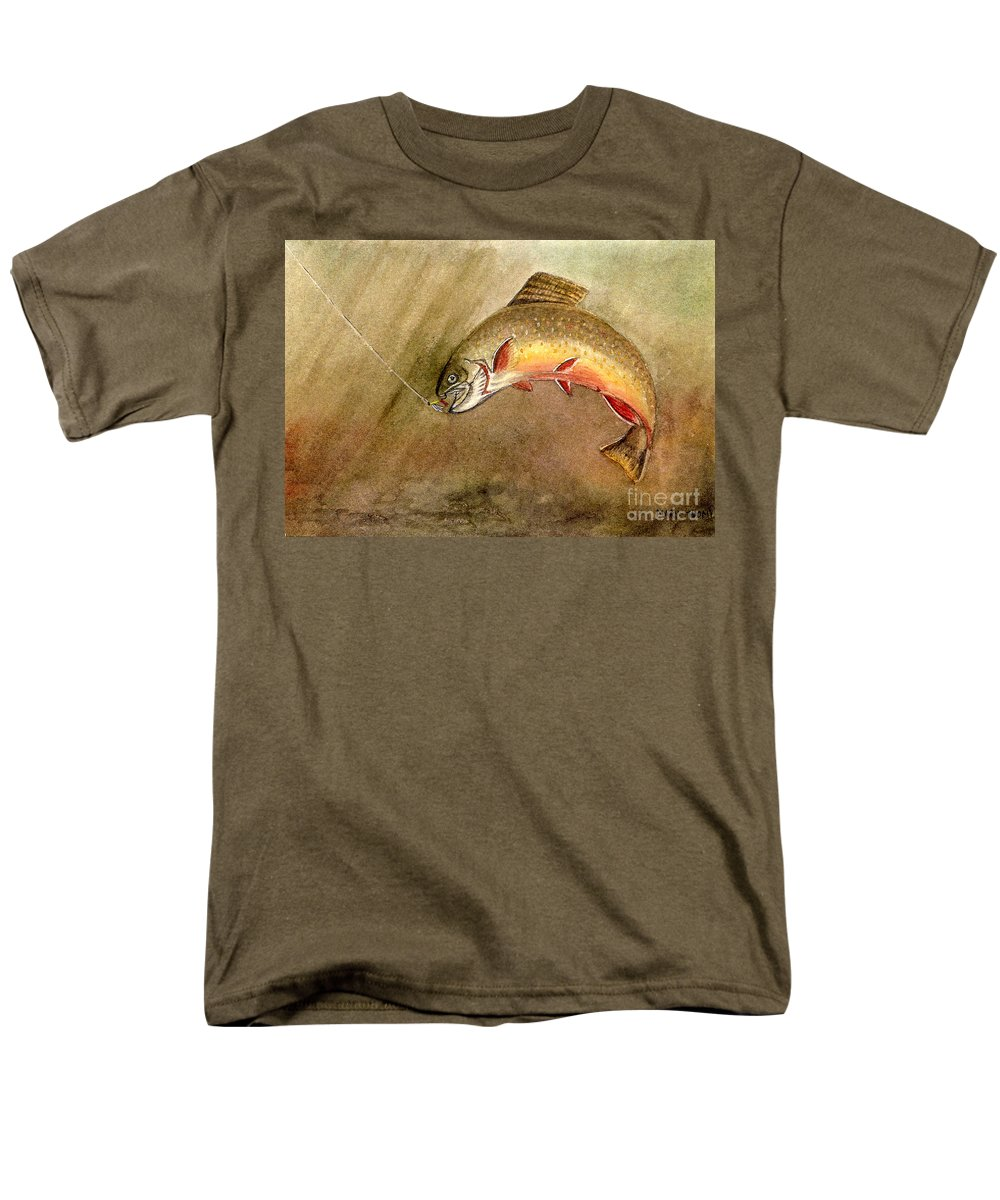 Trout Men's T-Shirt (Regular Fit) featuring the painting Brown Trout by Mary Tuomi