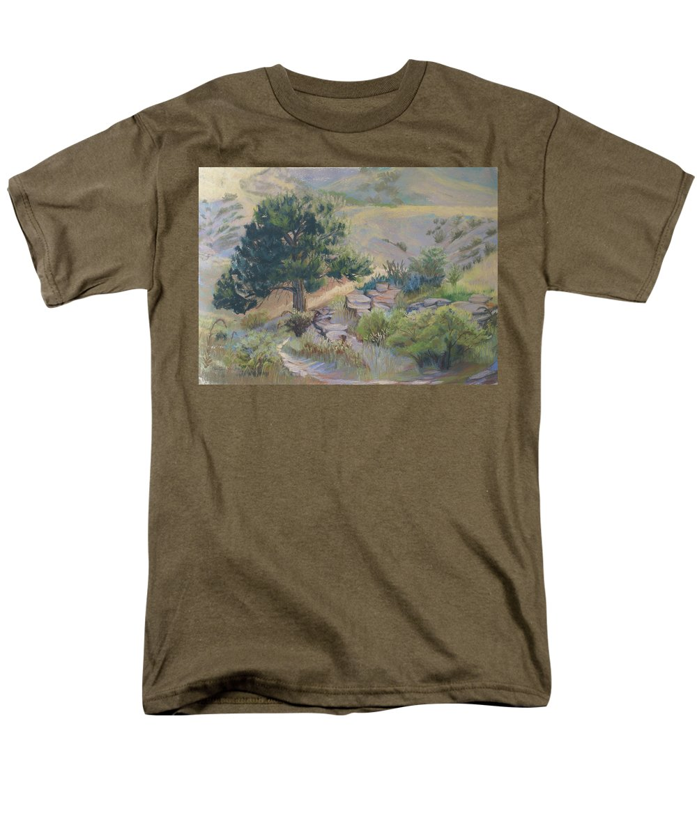 Pine Tree Men's T-Shirt (Regular Fit) featuring the painting Buckhorn Canyon by Heather Coen