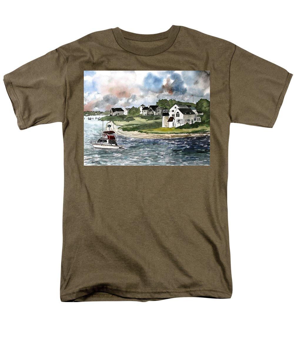 Lighthouse Men's T-Shirt (Regular Fit) featuring the painting Cape Cod Lighthouse by Derek Mccrea