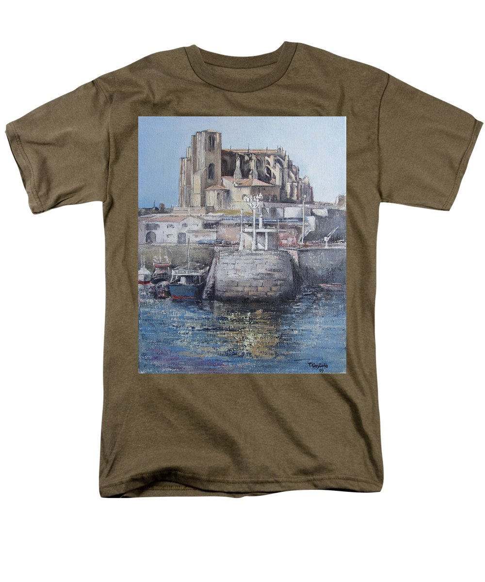 Castro Men's T-Shirt (Regular Fit) featuring the painting Castro Urdiales by Tomas Castano
