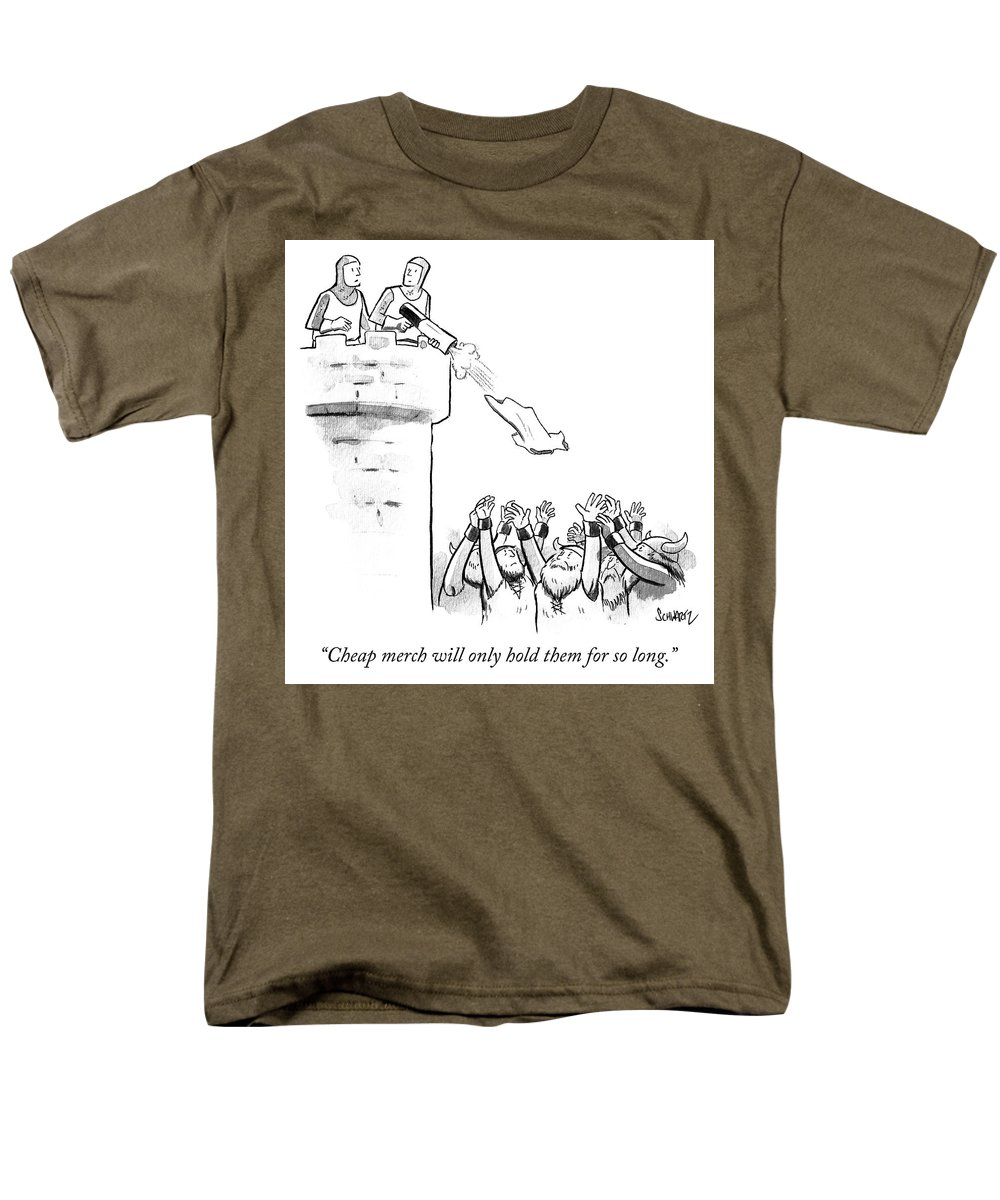 """cheap Merch Will Only Hold Them For So Long."" Men's T-Shirt (Regular Fit) featuring the drawing Cheap Merch by Benjamin Schwartz"