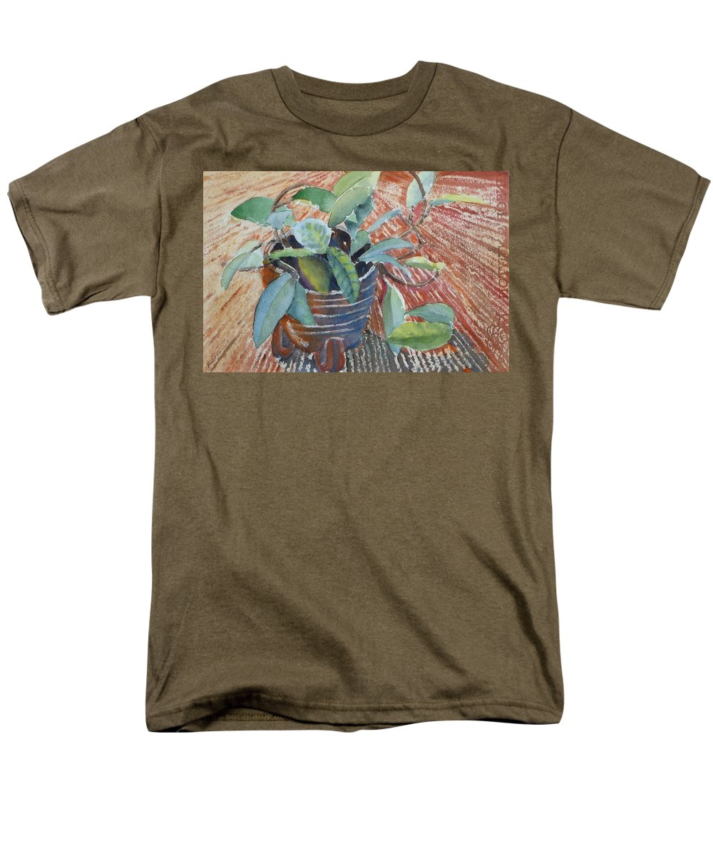 Vine Men's T-Shirt (Regular Fit) featuring the painting Clay Pot by Ruth Kamenev