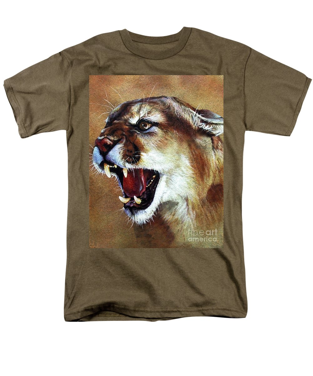 Southwest Art Men's T-Shirt (Regular Fit) featuring the painting Cougar by J W Baker