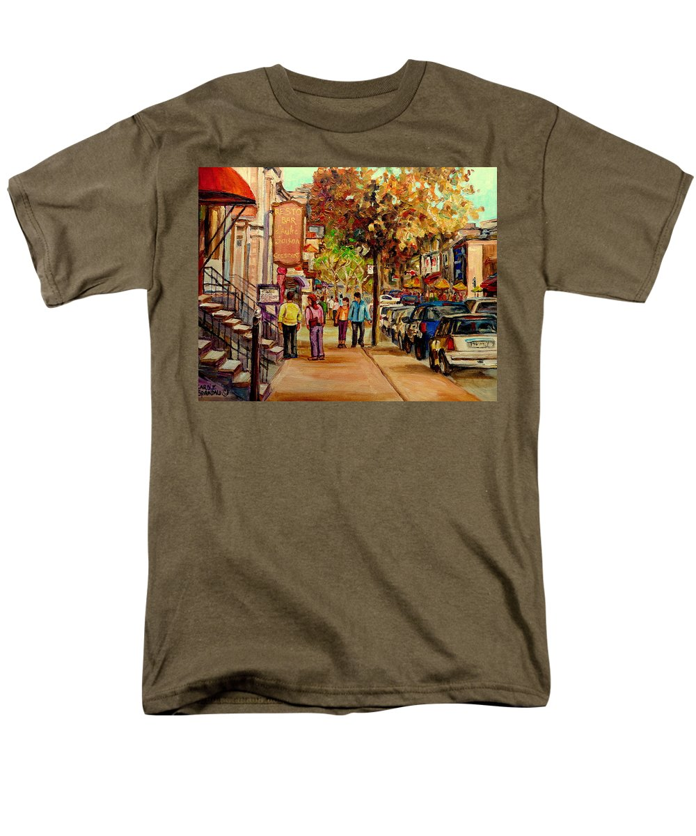 Montreal Streetscenes Men's T-Shirt (Regular Fit) featuring the painting Crescent Street Montreal by Carole Spandau
