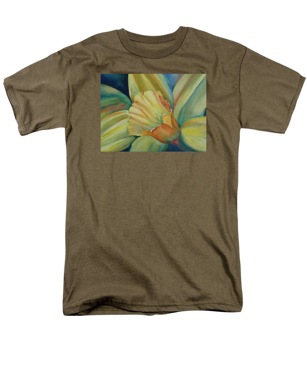 Flower Men's T-Shirt (Regular Fit) featuring the painting Dazzling Daffodil by Ruth Kamenev