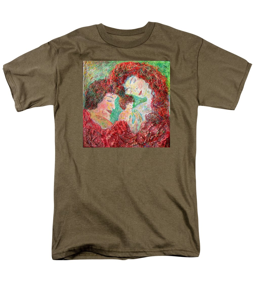Mother Men's T-Shirt (Regular Fit) featuring the painting Family Safety by Naomi Gerrard