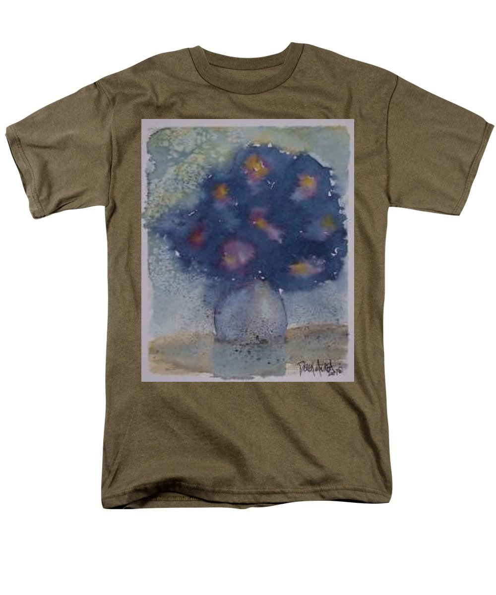 Watercolor Men's T-Shirt (Regular Fit) featuring the painting FLOWERS AT NIGHT original abstract gothic surreal art by Derek Mccrea