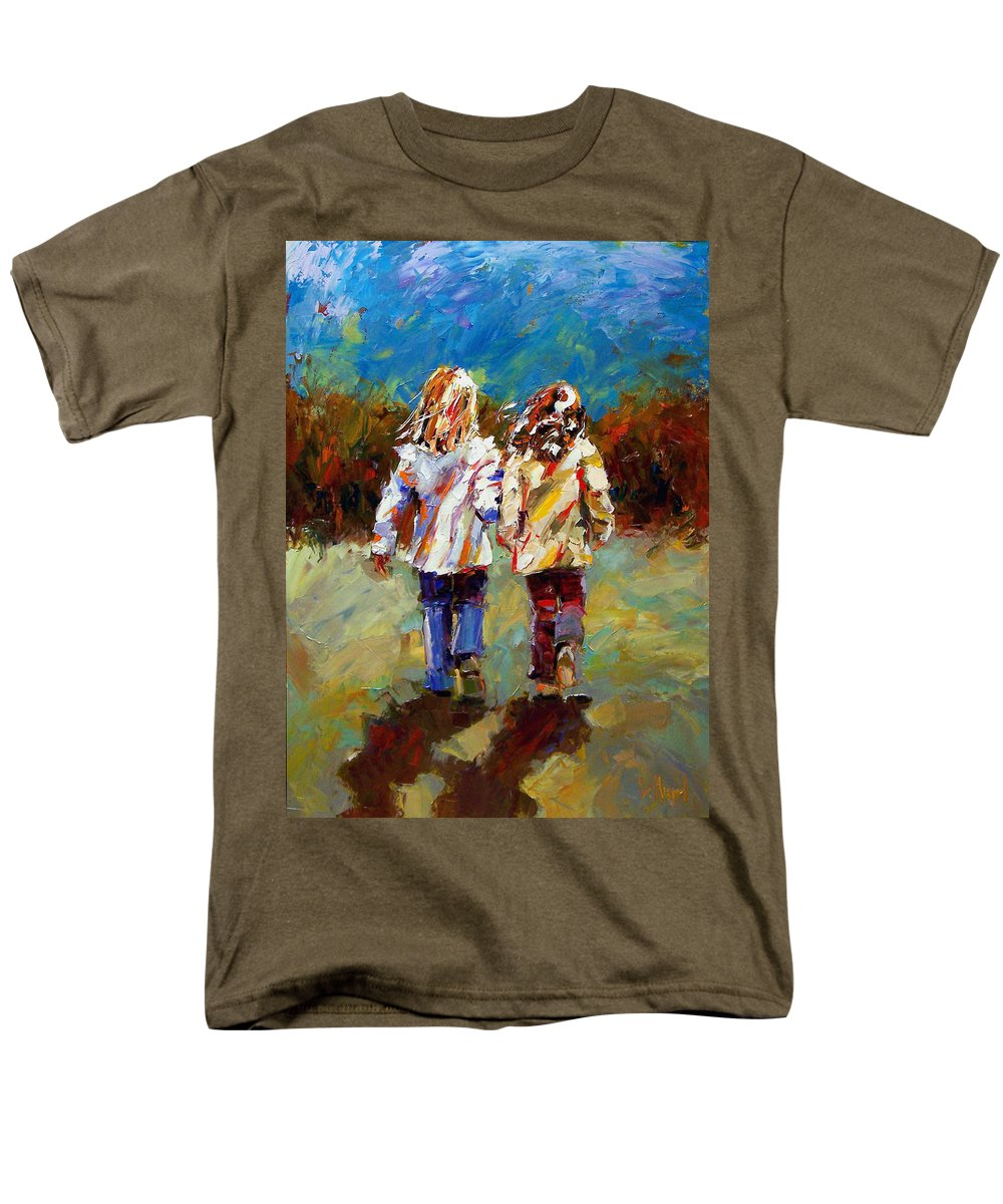 Girls Men's T-Shirt (Regular Fit) featuring the painting Friends Forever by Debra Hurd