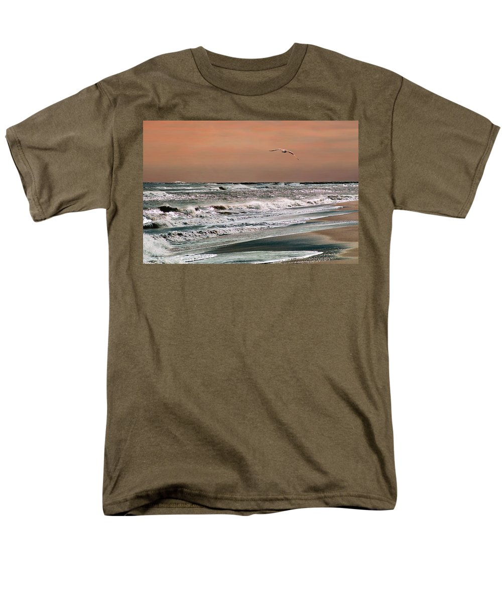 Seascape Men's T-Shirt (Regular Fit) featuring the photograph Golden Shore by Steve Karol
