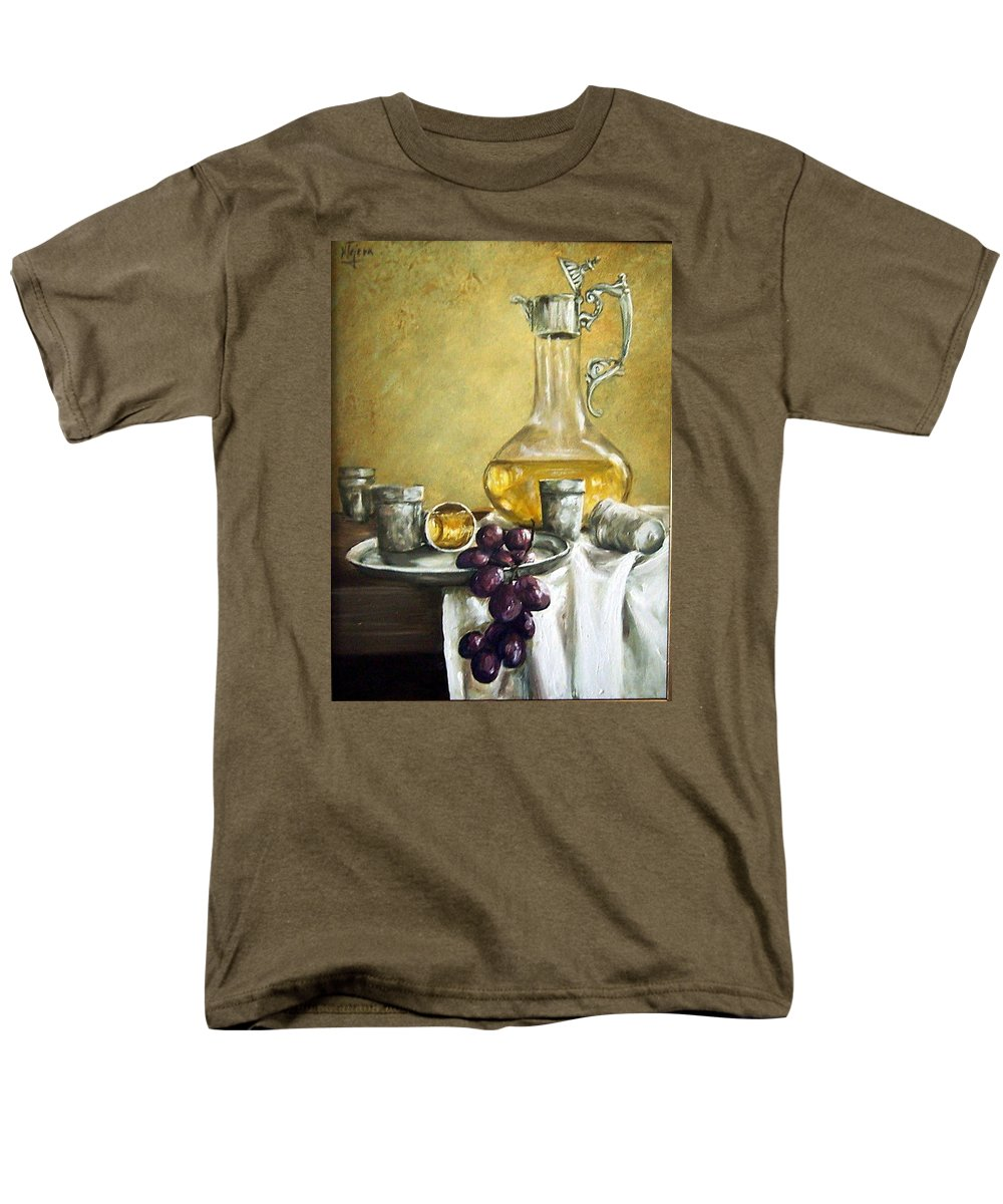 Still Life Cristal Bottle Grapes Fruits Glass Men's T-Shirt (Regular Fit) featuring the painting Grapes And Cristals by Natalia Tejera