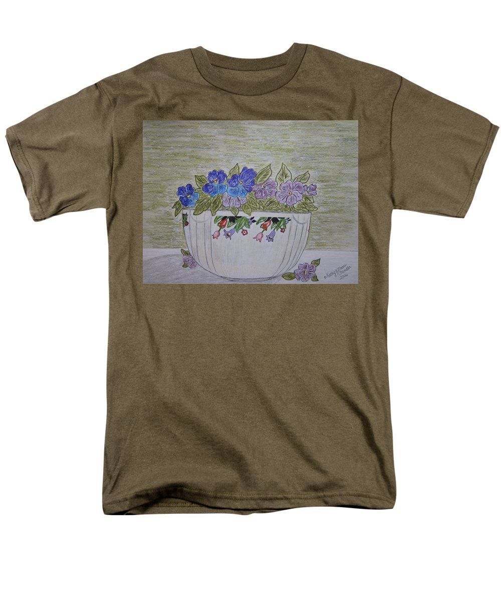 Hall China Men's T-Shirt (Regular Fit) featuring the painting Hall China Crocus Bowl with Violets by Kathy Marrs Chandler