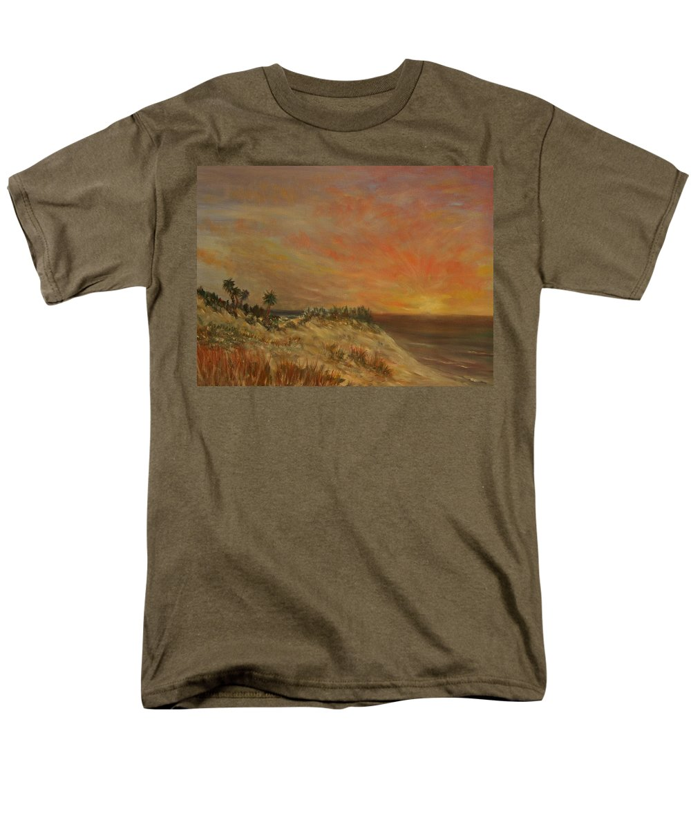 Sunset;beach;ocean;palm Trees Men's T-Shirt (Regular Fit) featuring the painting Island Sunset by Ben Kiger