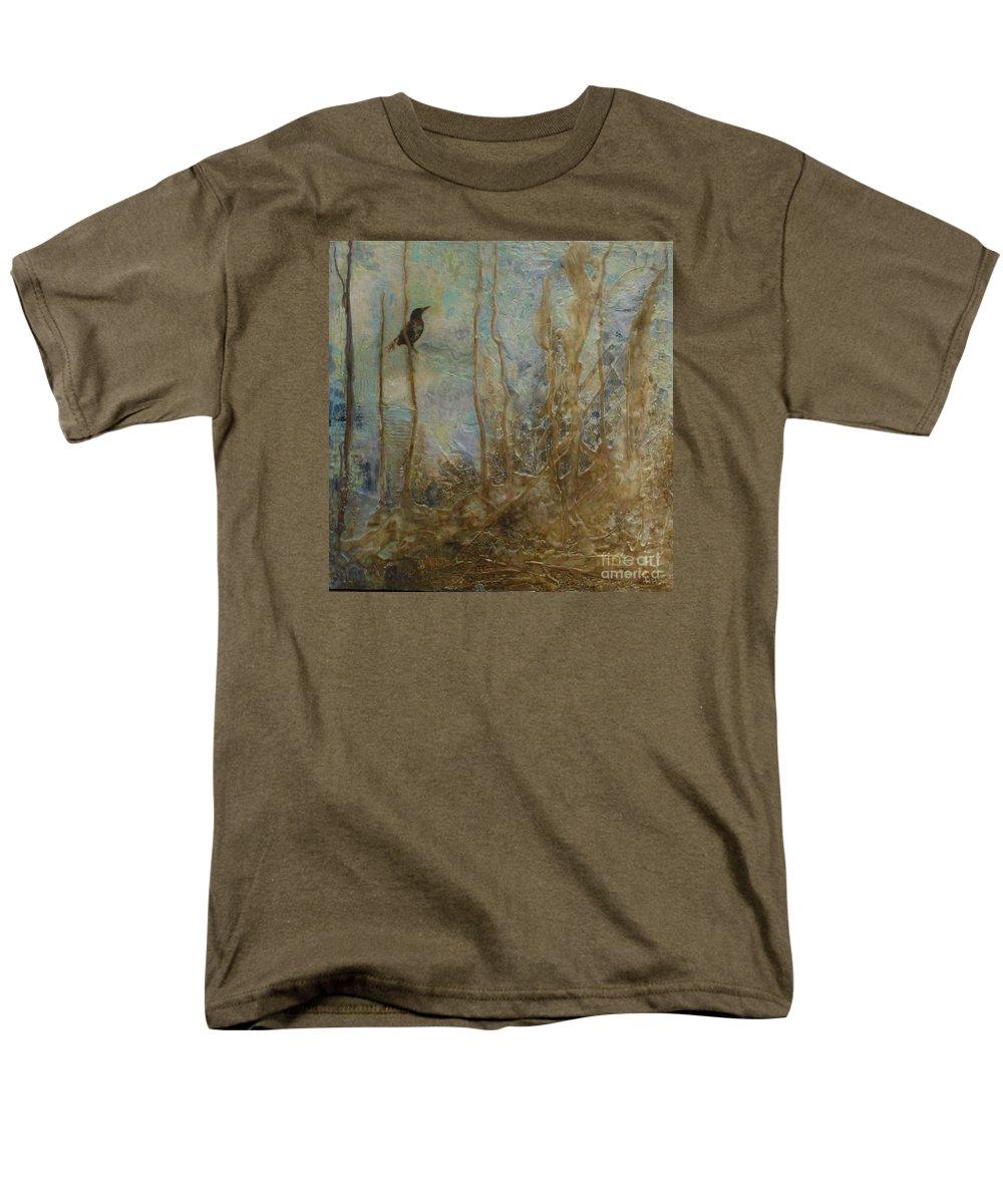 Bird Men's T-Shirt (Regular Fit) featuring the painting Lawbird by Heather Hennick