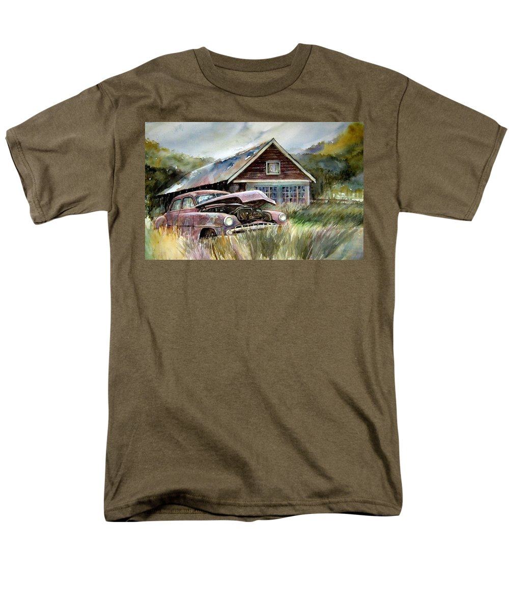Car House Men's T-Shirt (Regular Fit) featuring the painting Miss Wilson's House by Ron Morrison
